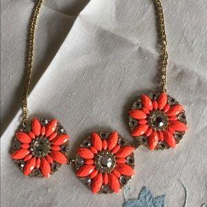 J Crew Rhinestone flower necklace